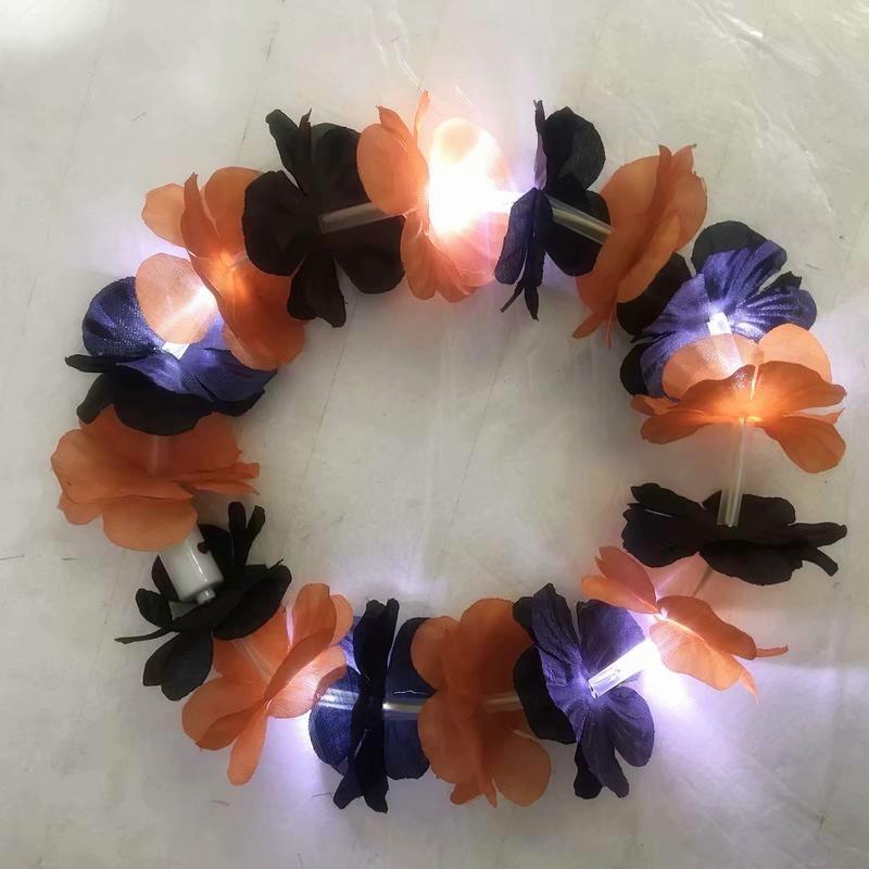Purple Orange Halloween Light Up Lei