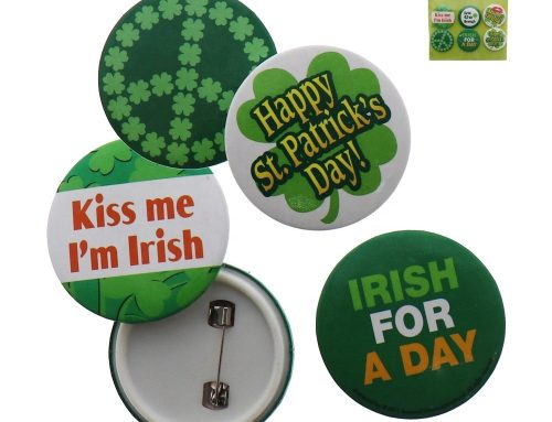 St. Patrick's Day Shamrock Buttons Irish Pins Decor Party Favors Decorations