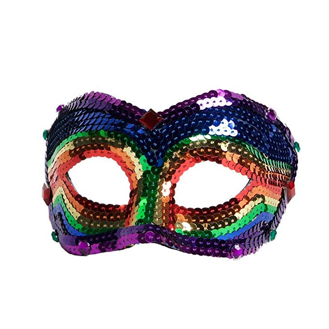 Deluxe Sequin Half Venetian Mask Rainbow Fantasy Mask