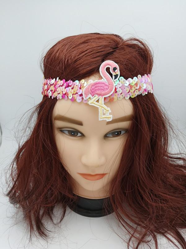 Sequin Pink Flamingo Headbands