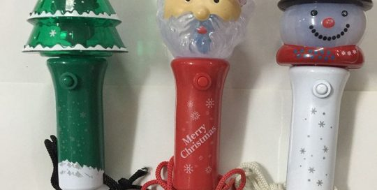 Christmas Flashing Stick Rotating Stage Light Santa LED Light Up Stick Necklace