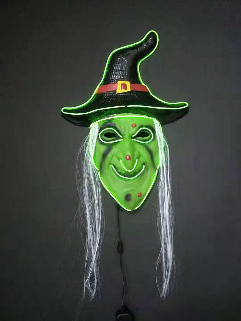 Halloween Witch Mask w LED Light Up Adult Masks