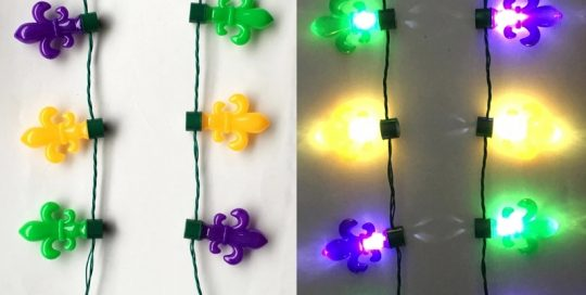 Mardi Gras 25in Long Mardi Gras Light Up Necklace PGG FDL Flashing Beads