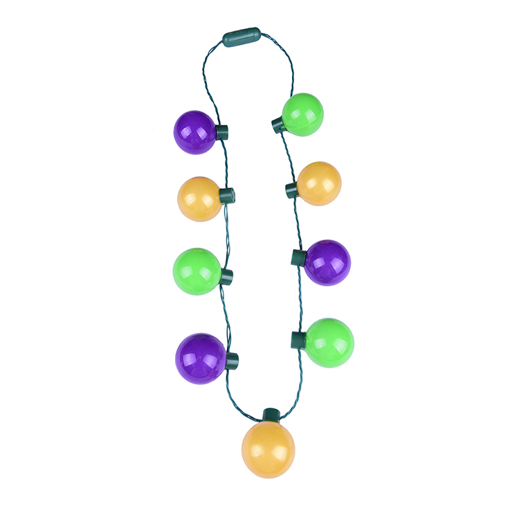 Mardi Gras 25in Long Light Up Necklace Pgg Fdl Flashing Beads