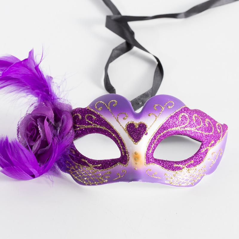 Purple Venetian Eye Glitter Mask w Feathers