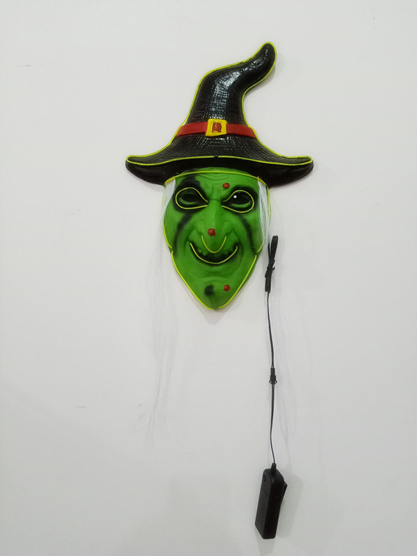 Halloween Witch LED Light Up Mask Creepy Witch Full Face Adult Mask