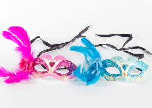 Pink Teal Venetian Eye Glitter Mask w Feathers