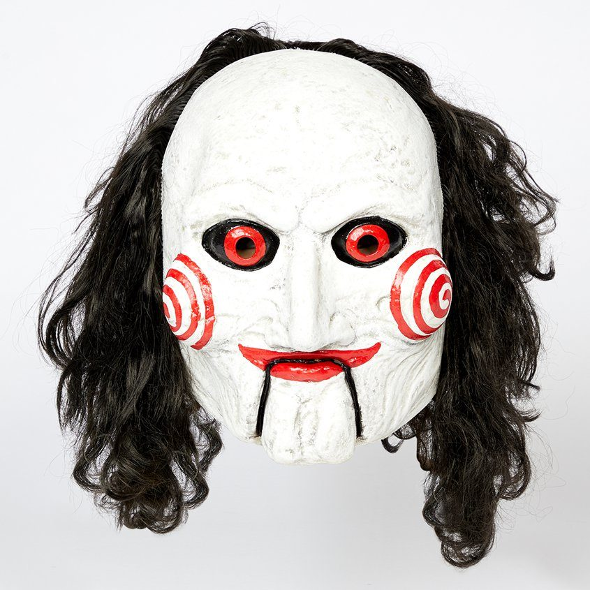 Jigsaw (Saw 8) Billy Adult Mask With Hair Halloween Accessories
