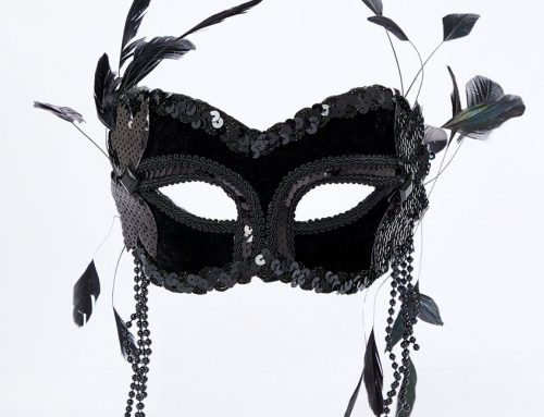 Black Masquerade Mask W Feathers and Beads For Women