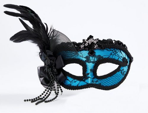 Blue Masquerade Mask with Feathers & Lace Ball Party