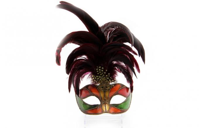 Colombina Plastic Mask with Red Feathers