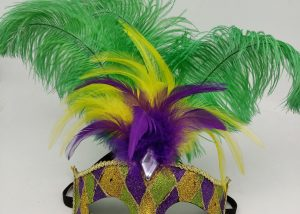 LED PARTY MASK PGG Mardi GRas Mask w Feathers