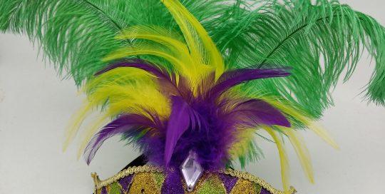 LED PARTY MASK PGG Mardi GRas Mask w Feathers