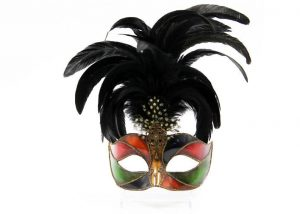 Colombina Plastic Mask with Feathers
