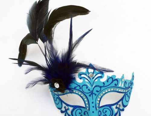 Assorted FDL Glitter Mask w Feathers Masquerade Masks