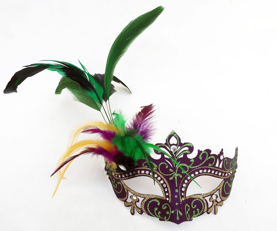 Mardi Gras Party FDL Glitter Mask w PGG Glitter Edge