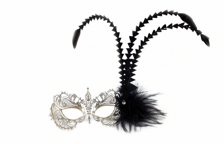 Venice Mask Metal Mask w Black Feathers