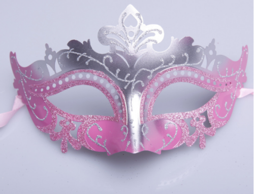 Asst Pink Purple Venice Carnival Masks Glitter Eye Mask