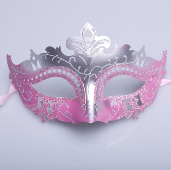 Pink Silver Glitter Venice Carnival Masks