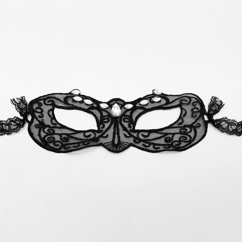 Lace Eye Mask w White Rhinstone